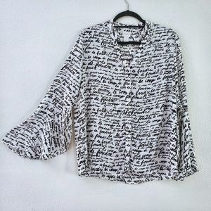 Chico's French Script Print Flutter Sleeve Blouse